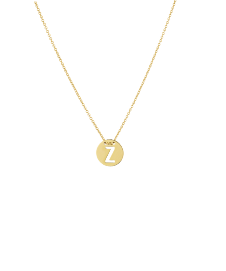 Disc Letter Necklace-Solid 9k yellow-40-42 cm-Z
