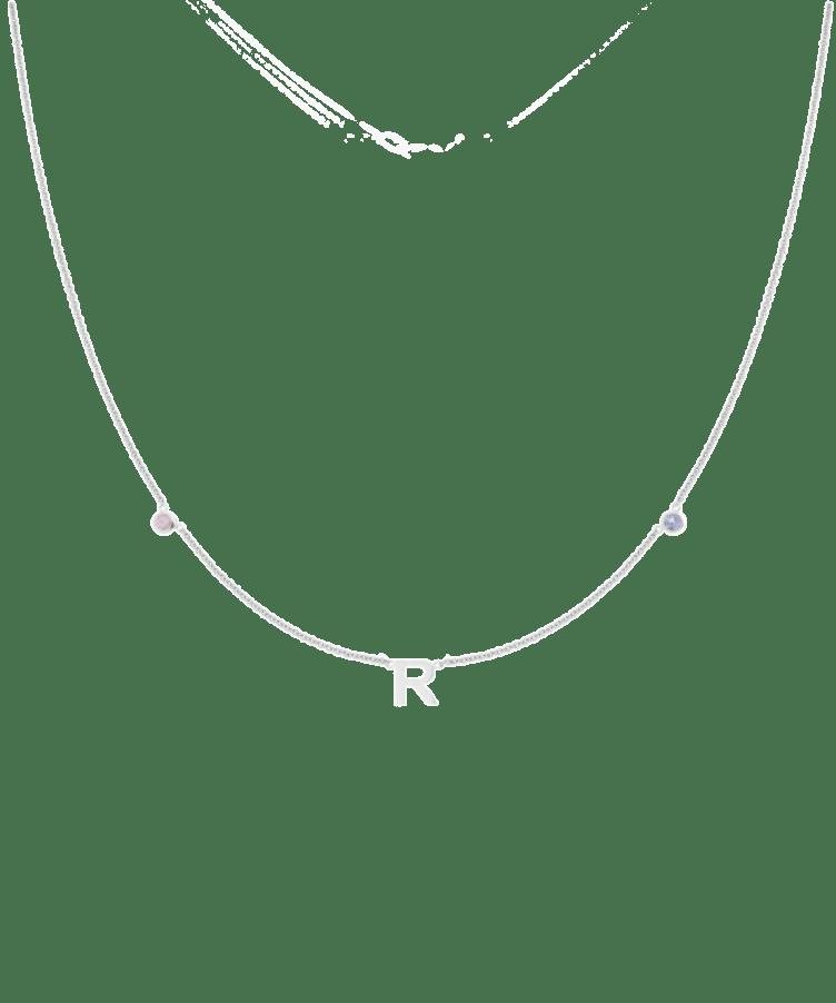 Mini Letter + Birthstone Necklace-Solid 14K White Gold-35 cm