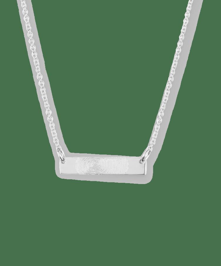 Mini Fingerprint Bar Necklace-925 Sterling Silver-35 cm