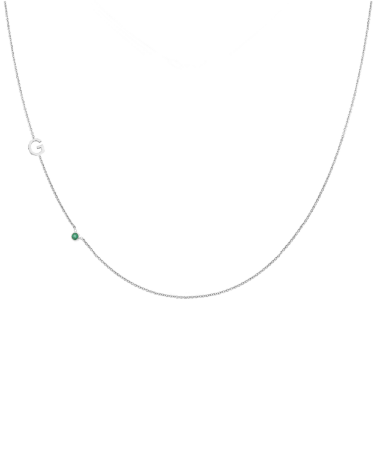 Letter + Birthstone Necklace-Large: 44 CM-Solid 14K White Gold