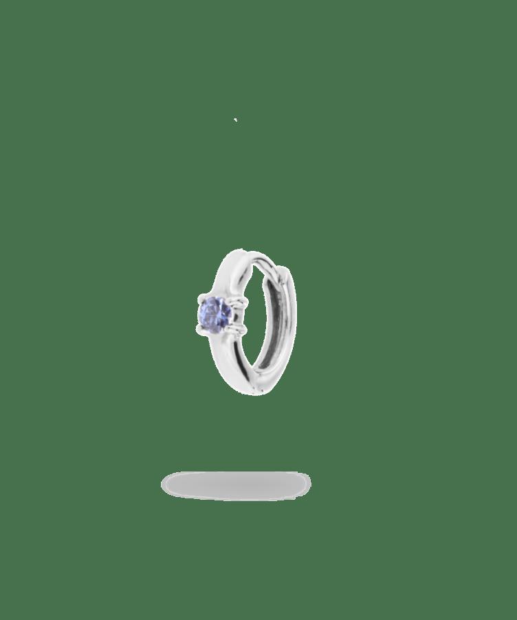 Single birthstone huggie earring silver